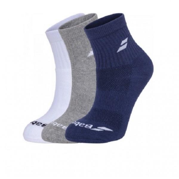 Носки теннисные Babolat Socks Quarter Unisex White/Blue/Grey 3 пары