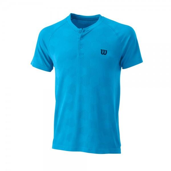 Мужское поло Wilson Power Seamless Henley (Coastal Blue) для большого тенниса