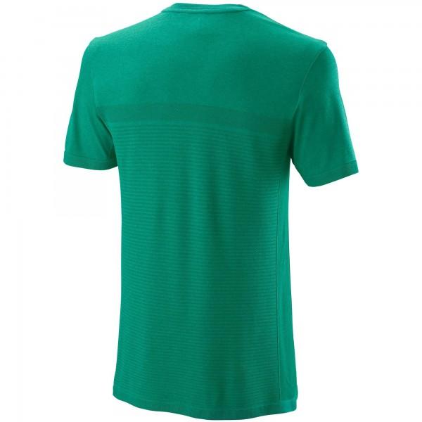 Мужская футболка Wilson Competition Seamless Crew (Deep Green/Lagoon Green) для большого тенниса