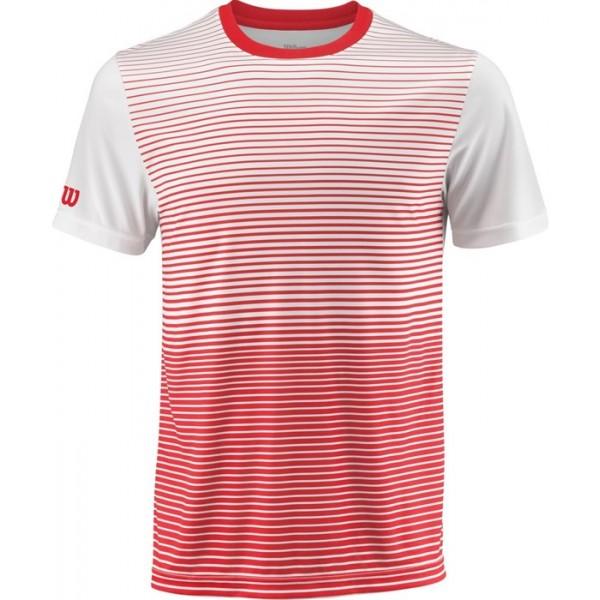 Футболка детская Wilson Team Striped Crew (Red/White) для большого тенниса
